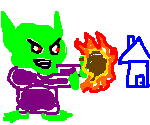 Green Goblin Destroys Happy House With Meteor Drawing By Lindsay8224