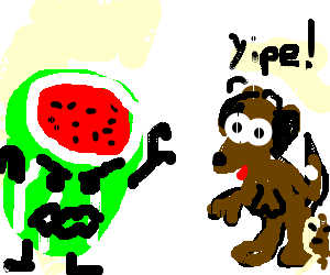 watermelon scares the shit out of dog