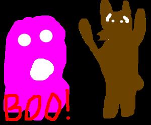 Pink blob scares a bear