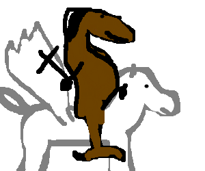 Raptor Jesus riding a pegasus