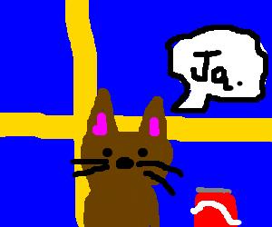 swedish cat loves coca cola drawception