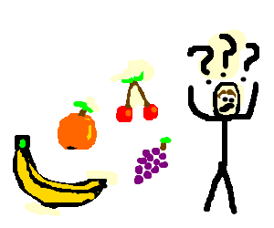 Banana; Orange; Cherries; Grapes; Confusion