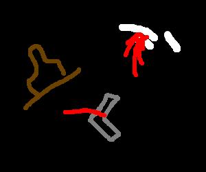 cowboy guns down flying skunk