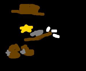 cowboy using a knife to sharpen a stick