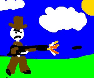 Cowboy sheriff firing his rifle