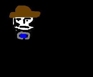cowboy shoots his gun with a raised eyebrow