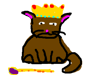 The brown cat has been crowned king.