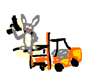 Killer rabbit ascends upon golden forklift!