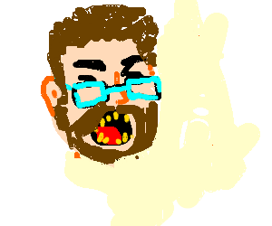Angry hipster with rotten teeth