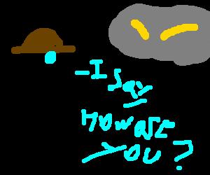 Classy pogo stick asks storm cloud how its doing