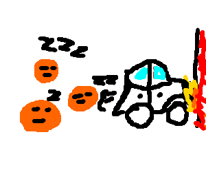 a sleeping orange  herd somthing crash