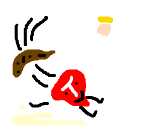 Meat Boy chased by rancid banana, finds God