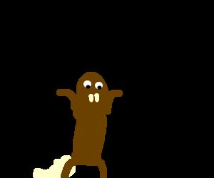A woodchuck chucking wood - Drawception