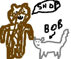 bear talks shop with bobcat