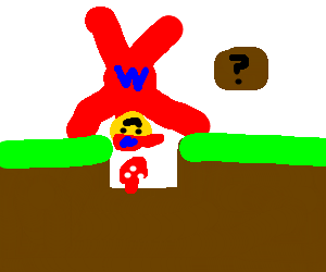 super mario does a handstand, finds mushrooms