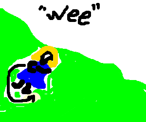 A woman rolling down a hill