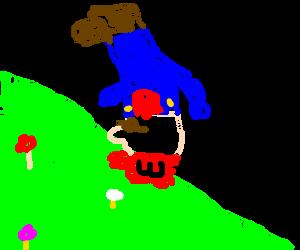 Mario tumbling downhill