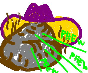 pile of silver poo with cowboy hat shoots lazers