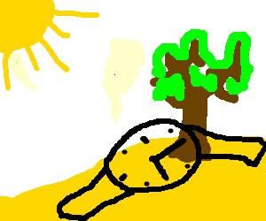 A  wristwatch melts on a tree in the desert