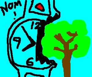 Massive transparent wrist watch eating a tree.