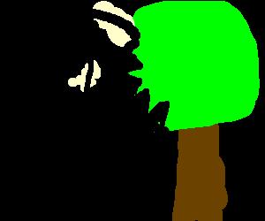 a clock bites a tree
