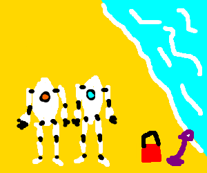 Portal 2 robots take a day off at the beach
