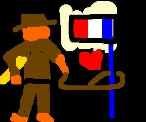 French Indiana Jones romances blue flagpole