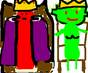The Sausage King and Alien Queen sit on thrones