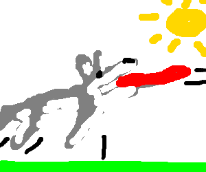 Husky dog catch freesbie in a sunny day (he jump