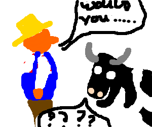 Farmer can't communicate with cow