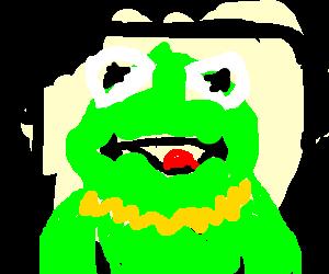 Magic pilgrim Kermit, rides a black lowrider.