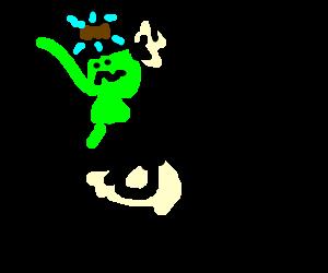 Kermit drives motorcycle wearing a bug zapper