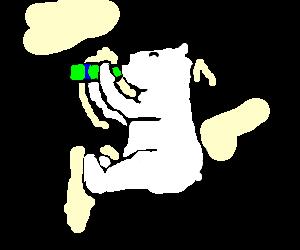 Polar bear enjoying some Mountain Dew