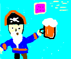 Whitebeard pirate having beer, awaiting poptard