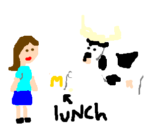 A lonely cow eats a sandwich with you