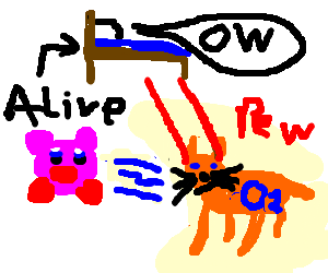 02 from Kirby guised as cat attacks sentient bed