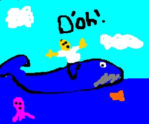 Homer Simpson rides Whale