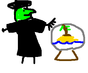 Witch traps island inside of her crystal ball