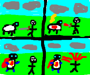 Bloody sheep gets superpowers from lightning