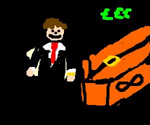 Business man with an orange Infinite box