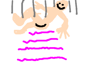 Naked man falls ass first onto a fancy cake