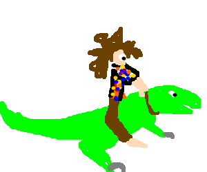 A hippie and his raptor.