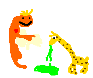 lovley fetus pointing at pukeing loyal giraffe