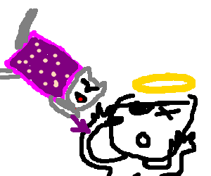 Nyan Cat attacking an angel-pirate