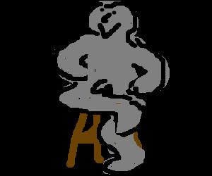 Grey man posing nude on a stool.