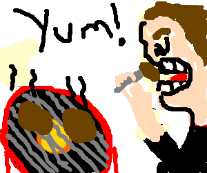 man eats steak right of the grill, very deliciou