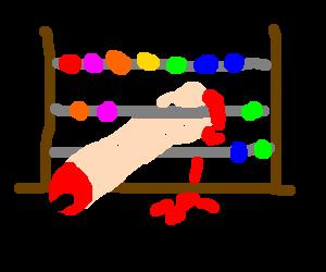 Rainbow-abacus with bleeding penis