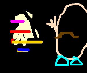 A multicolor egg meets Mr. Potato