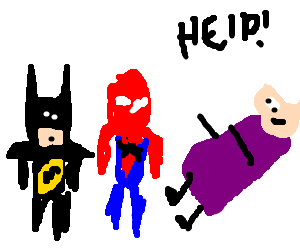 Batman and Spiderman save an old lady
