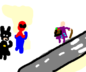 Batman & Spiderman consider helping an old lady